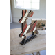 Holiday Recycled Painted Wooden Deer on a Stand