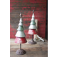 Holiday Set of Two Galvanized Red and Green Metal Trees