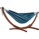 Patio Double Cotton Hammock with Solid Pine Arc Stand