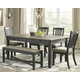 Tyler Creek Dining Table and 4 Chairs and Bench