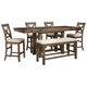 Moriville Counter Height Dining Table and 4 Barstools and Bench