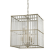 Six Light Chandelier in Aged Silver With Oval Glass Rods