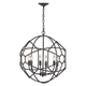 Rustic Iron Orb Chandelier With Honeycomb Metal Work