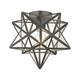 Moravian Star Flush Mount in Bronze Finish With Clear Glass