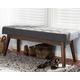Elia Dark Grey Fabric Button-Tufted Bench