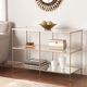 Gold Finished Glass Console Table