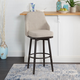 Damato Upholstered Curved Back Bar Stool with Metal Adjustable Legs
