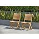 Teak Folding Chairs with Horizontal Slats (Set of 2)