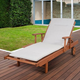Eucalyptus Wood Lounger with Light Grey Cushion