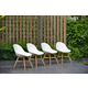 Resin Deluxe Bucket Arm Chair with Light Legs (Set of 4)