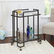 Rolling 2-Tier Rectangular Serving Cart in Gold Finish