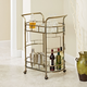 Rolling 2-Tier Serving Cart in Antique Gold Finish