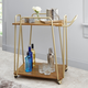 Rolling 2-Tier Clover Bar Cart in Gold Finish