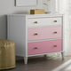 3 Drawer Monarch Hill Poppy Pink and White Dresser