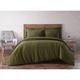 3 Piece King Brooklyn Loom Linen Olive Green Duvet Set