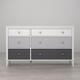 6 Drawer Monarch Hill Poppy Gray and White Dresser