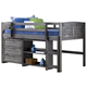 Kids Louvered Twin Low Loft Bed with 3 Drawer Chest and Small Bookcase.