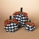 Decorative Fabric Plaid Pumpkins with Leaf Accent (Set of 3)