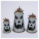Decorative Hammered Metal Jack-O-Lantern Luminaries (Set of 2)