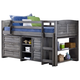 Kids Louvered Twin Low Loft Bed with 3 Drawer Chest, 2 Drawer Chest and Bookcase.