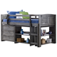 Kids Louvered Twin Low Loft Bed with 3 Drawer Chest, Bookcase and Small Bookcase.