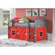 Kids Louvered Twin Low Loft Bed With Tent