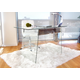 Glass Home Office Desk with Metal Accents