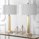 Gold Finished Crystal Base Table Lamp (Set of 2)