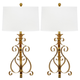 Antique Gold Finished Sculpture Table Lamp (Set of 2)