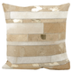 Modern Mix Stripes Natural Leather Hide Silver Grey Pillow