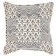 Modern Printed Flower Patch Life Styles Indigo Pillow