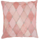 Modern Diamonds Stitches Natural Leather Hide Rose Pillow