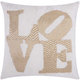 Modern Fully Beaded Love Luminescence Silver Gold Pillow