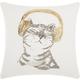 Modern Dj Glitter Kitten Gold Pillow