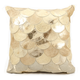 Modern Metalic Balloons Natural Leather Hide Beige Gold Pillow