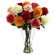 Home Accent Assorted Blooming Roses with Vase