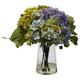 Home Accent Hydrangea with Glass Vase Silk Flower Arrangement