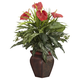Home Accent Mixed Greens & Anthurium with Decorative Vase Silk Plant