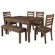 Royard Dining Table and 4 Chairs and Bench