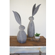 Decorative Faux Stone Rabbit With Tall Metal Ears - Tall