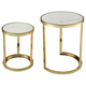 Modern Trimalchio Gold FinishPlated and White Metal and Marble Accent Tables (Set of 2)