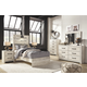 Cambeck Twin Panel Bed with Mirrored Dresser, Chest and Nightstand