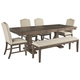 Johnelle Dining Table and 4 Chairs and Bench