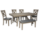 Aldwin Dining Table and 4 Chairs and Bench