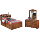 Barchan Full Bookcase Bed with 2 Storage Drawers with Mirrored Dresser