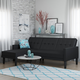 Atwater Living Henri Small Space Sectional Futon Black Faux Leather