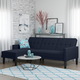 Atwater Living Henri Small Space Sectional Futon Blue Linen
