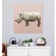 GreenBox Art Rhino On Deep Blush by Cathy Walters Canvas Wall Art