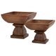 Home Accents Julian Wood Pedestal Bowls (Set of 2)