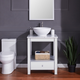 Southern Enterprises Horacio Mirrored Vanity with Marble Top and Vessel Sink
